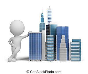 3, kicsi, emberek, -, felhőkarcoló