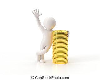 3, kicsi, emberek, -, gold pénzdarab