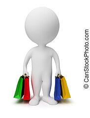 3, kicsi, emberek, -, hord, bevásárol táska