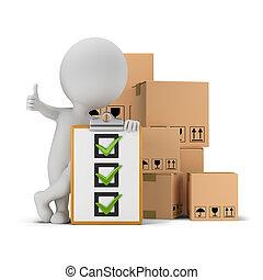 3, kicsi, emberek, -, ideiglenes katalógus, és, dobozok