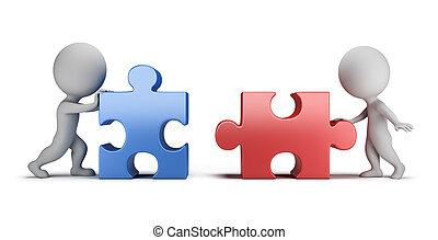 3, kicsi, emberek, -, kölcsönös, összeköttetés