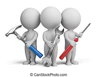 3, kicsi, emberek, -, repairers