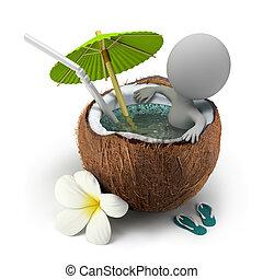 3, kicsi, emberek, -, tart, egy, fürdőkád, kókuszdió