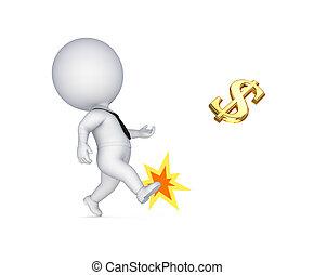 3, kicsi, személy, rúgás, dollar dollar, cégtábla.