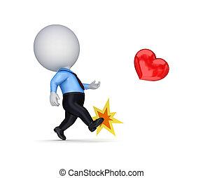 3, kicsi, személy, rúgás, egy, piros, heart.