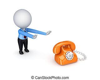3, kicsi, személy, vontatás, kézbesít, fordíts, egy, telephone.
