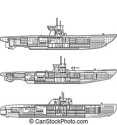 submarine - 3 kinds of German u-type submarine