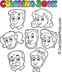 3, kleurend boek, verzameling, gezin