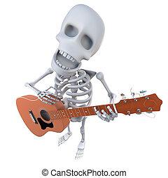 3, komický, karikatura, kostra, charakter, hraní, neurč. člen, zvukový kytara