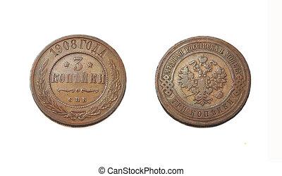 3 kopek, old coin, 1908, Tsarist Russia