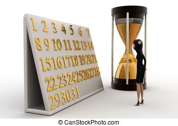 3, kvinna, begrepp, kalender, klocka