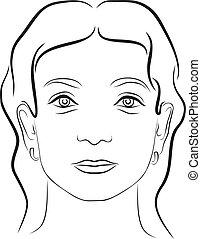 3, kvinna, ung, ansikte