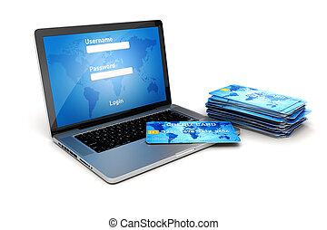 3, laptop, és, hitel kártya, online bevásárlás, biztos...