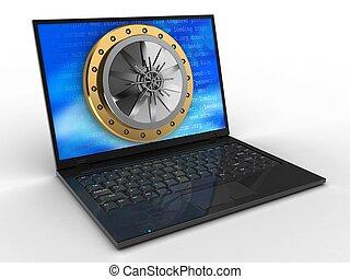 3, laptop computer, és, boltozat, ajtó