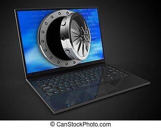 3, laptop computer, és, kinyitott, boltozat, ajtó
