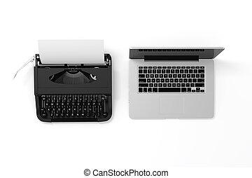 3, laptop, och, skrivmaskin