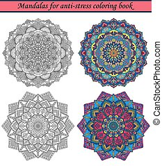 3, libro colorear, anti-stress, mandalas