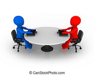 3, lille branche, folk sidde, hos, omkring tabel