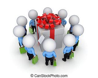 3, lille, folk, omkring, gave, box.