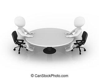 3, lille, folk sidde, hos, omkring tabel
