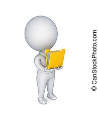 3, lille, person, hos, en, gul, brochuren, ind, en, hands.