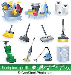 3, limpeza, ícones