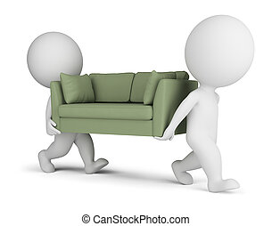 3, liten, folk, bära, a, soffa