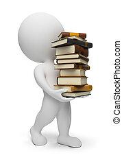 3, liten, folk, -, bärande, böcker