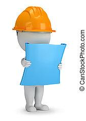 3, liten, folk, -, byggmästare, med, planen