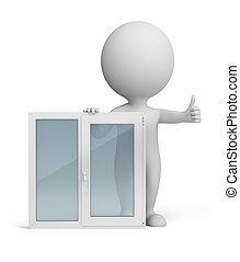 3, liten, folk, -, fönster