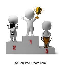 3, liten, folk, -, givande, av, vinnare