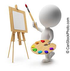3, liten, folk, -, målare