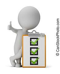 3, liten, folk, med, a, checklista