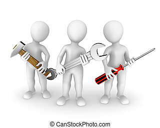 3, liten, folk, med, tools.