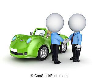 3, liten, folk, och, grön, bil.