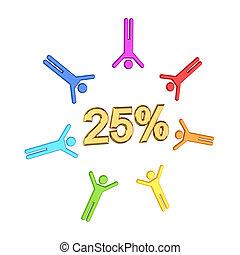 3, liten, folk, och, gyllene, inskrift, 25%