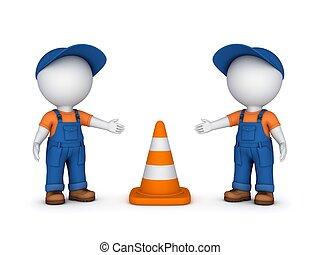 3, liten, folk, och, trafik, cone.