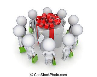 3, liten, folk, omkring, gåva, box.