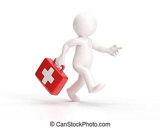 3, liten, folk, -, spring, läkare