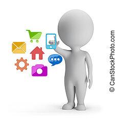 3, liten, folk, -, val, av, applikationer