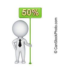 3, liten, person, med, a, grön, bunner, 50%.