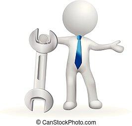 3, liten, vit, folk, med, skiftnyckel, logo