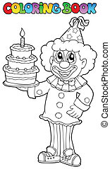 3, livre coloration, clown, heureux