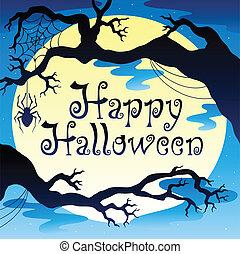 3, lycklig, halloween, tema, måne