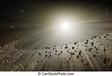 3, lysande, explosion, och, strödd, rockar, in, djupen,...