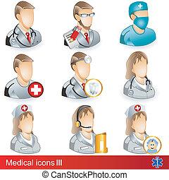 3 médicos, ícones