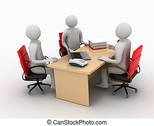 3, man, affärsmöte, arbete samtalen