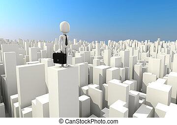 3, man, entreprenör stå, på, den, taktopp, av, skyskrapa