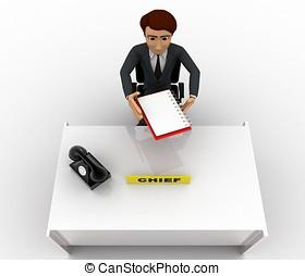 3, man, kontroll, papper, på, kontor, bord, begrepp
