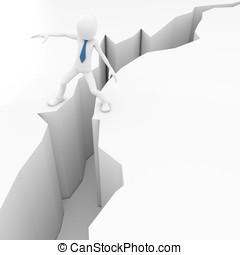 3, man, med, jordbävning, spricka